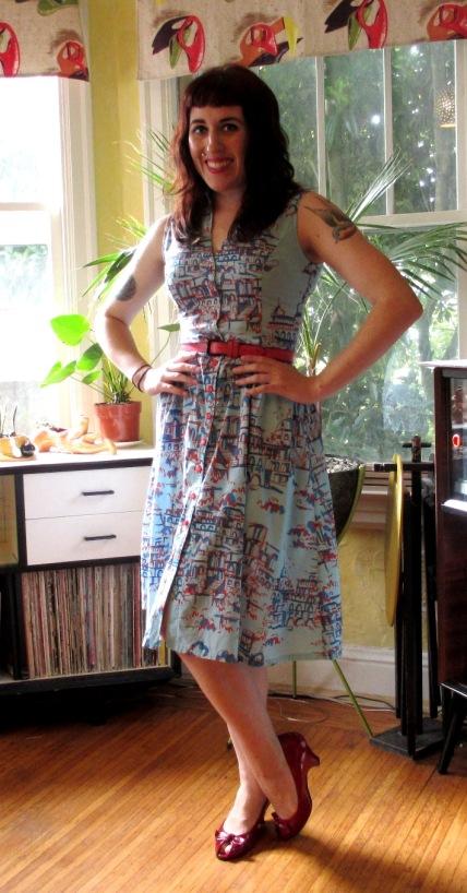 blue&red printed shirt dress (2)