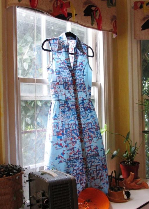 blue&red printed shirt dress (3)