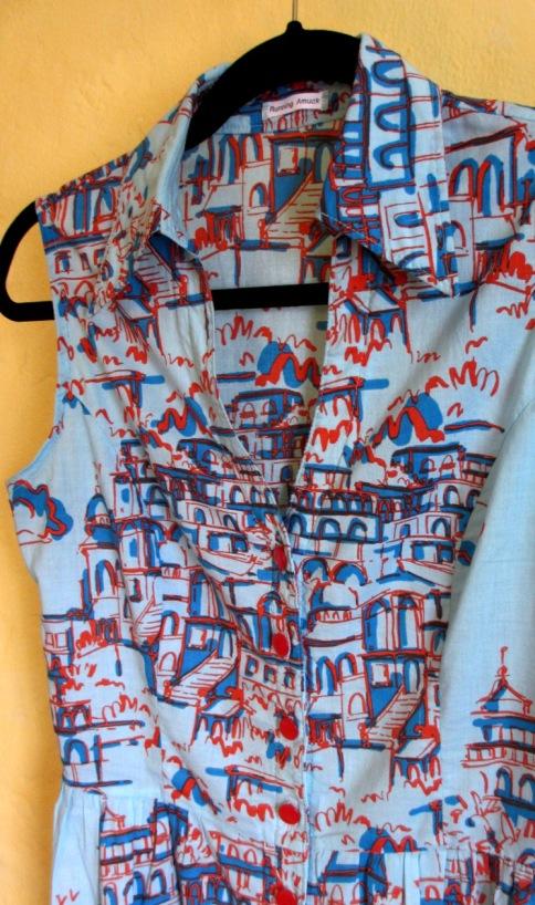 blue&red printed shirt dress